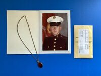 Vintage USMC Marine Corps Photo Charm Necklace