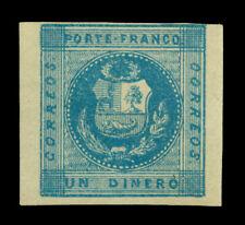 PERU 1858  Coat of Arms - Llama - 1d deep blue  Scott # 1  mint MH  VF
