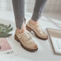 Fashion Casual Women Flats Shoes Lace Up Comfort Shoes Leather Oxfords Loafers