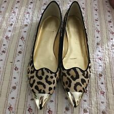 a9623700c965 GORGEOUS IVANKA TRUMP Carlaly Leopard Leather Gold Toe Flats Size 8 M