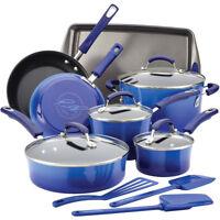 Rachael Ray 14-Piece Hard Enamel Nonstick Cookware Set - Blue Gradient