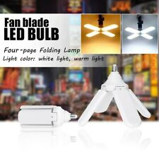E27 Fan Blade LED Light Bulb 60W 4 Blade Folding Garage Lamp 110-265V Adjustable