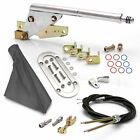 Parking Floor Mnt E-Brake HandleGray Boot, Chr Ring, Cable Kit, Ford Clevis