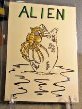ALIEN WATERCOLOR / PEN INK PAINTING 5 x 7 By Phil Born Fine Art  Facehugger