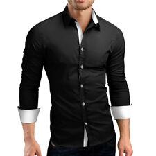 US Mens Long Sleeve Shirt Button Up Business Work Smart Formal Plain Dress Top
