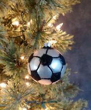 Christmas Ornament Glass Soccer Ball Raz Imports Sports Theme 2.5 inch