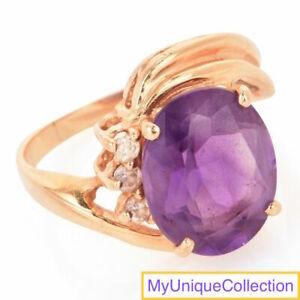 Estate Diamond Amethyst 14K Yellow Gold Ring Size 5 1/4