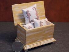 Dollhouse Miniature Blanket Chest Seahorse Pillows 1:12 sca D61 Dollys Gallery