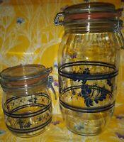Pfaltzgraff Folk Art Glass Jar Canisters Set Of 2