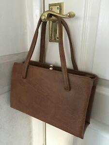 Vintage 60s mod handbag brown tan retro revival purse