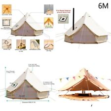 6M Canvas Bell Tent Ultimate Yurt Glamping Outdoor Camping Beige with Stove Jack