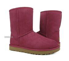 UGG Classic Short II Garnet Red Suede Fur Boots Womens Size 7 ~NIB~