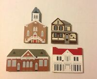 The Cats Meow Black Heritage Series Christmas Village Wooden Houses Lot of 4
