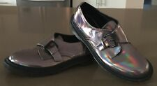 NEW Unique Reflective Pewter ASOS Monk Strap PU Rubber Sole Shoes Size 7