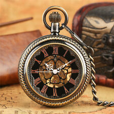Vintage Golden Skeleton Hand Wind Mechanical Pocket Watch 30cm Pendant Chain
