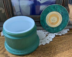Vintage 1960's Avon GREEN & GOLD Glass Regence CREAM SACHET COSMETIC JAR