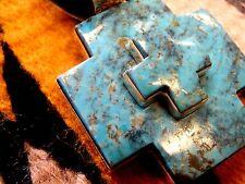 "2 1/2 "" Kingman Turquoise Sterling Silver Cross Pendant  Dan Dodson  3/4 "" bezel"