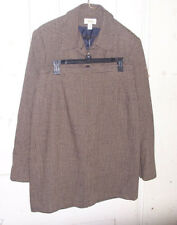 TALBOTS Women's Suit Blazer Skirt Size 16 Brown Black Wool Tweed Made in USA