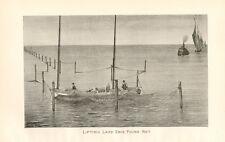 Rare Denton 1895 Fish Print - Lifting Lake Erie Pound Net