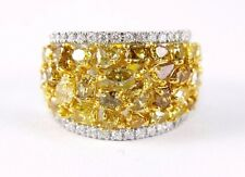 Fancy Yellow Cluster Diamond Fashion Ring Band 14k White Gold 4.78Ct