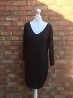 Reiss Black Wool Long Sleeved Knee Length Jumper Dress Size Large B28