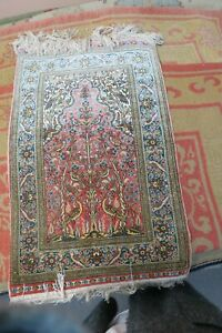 "Super Fine Hand Knotted Signed Turkish Hereke Silk Meditation Prayer Rug 16""x26"""