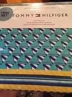 Tommy Hilfiger Windsurfer Twin Sheet Set Teal Navy Yellow White NauticaL NIP