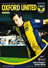 Football Programme>OXFORD UNITED v BURTON ALBION Mar 2011