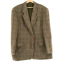 Harris Tweed 100% Laine Marron Veste Blazer Taille US/UK 42 Eu