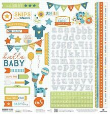 "PAPER HOUSE HELLO BABY BOY PREGNANCY INFANT 12""X12"" CARDSTOCK SCRAPBOOK STICKERS"