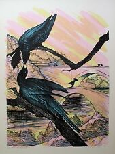 "SUSAN HALL ""BLACK BEAUTY"" Hand Signed Limited Edition 1980 Lithograph Bird Art"