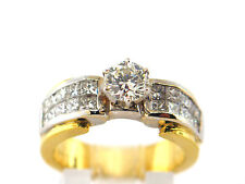 1.54 CT Engagement ring natural diamond  round & princess cut 18K two Tone Gold