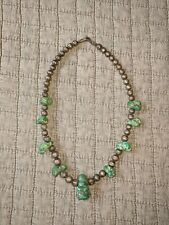 Old * Navajo Indian* Green Turquoise Stone's & Sterling Pearl Beaded Necklace!