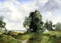 Oil Thomas Moran - Old Windmill, East Hampton, Long Island, New York landscape