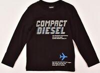 DIESEL Kids' Boys' TIAGO Long Sleeve Printed T-shirt, Top, Black, size 4 years