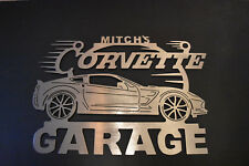Corvette C7 sign Metal Garage ANY Name On Top of sign Metal Garage Sign