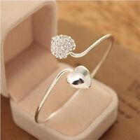 Fashion Crystal Love Heart Women Silver Plated Cuff Bangle Bracelet Jewelry