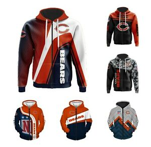 Chicago Bears Fans Hoodie Football Zip Up Sweatshirt Casual Hooded Jacket Gift