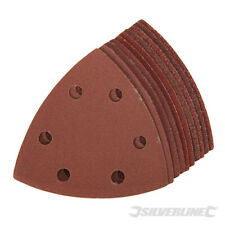 Silverline Triangle Sanding Pads Hook & Loop Sheets 90mm 60, 80, 120 & 240G 10Pk