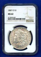 1887 O NGC MS62 Morgan Silver Dollar $1 1887-O NGC MS-62 PQ Coin !