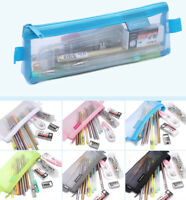 Clear Exam Bag Student Transparent Mesh Pencil Case Net Cosmetic Makeup Pouch