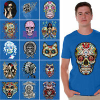 Sugar Skulls Dia De Los Muertos T-SHIRT Day of the Dead shirt Halloween BLUE
