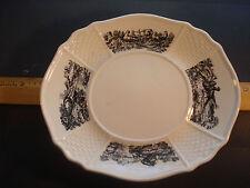 """Wedgwood Huet Osier creamware 8"""" rimmed Gravy Boat Plate ca.1920's Vintage Rare"""