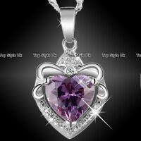 Xmas Gifts for Her Purple Heart Necklace Silver 925 Mum Women Wife Daughter F1