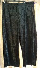 Double Click black velvet wide leg pants, elastic waist, Plus size 3X