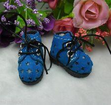 """12"""" Neo Blythe Pullip Momoko Obitsu Bjd Doll Shoes Velvet Star Hole Boots BLUE"""