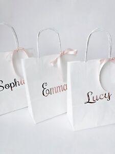 PERSONALISED WEDDING BAGS BRIDESMAIDS FLOWERGIRLS, HEN PARTY BAGS ROSEGOLD