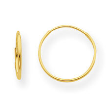 14K Yellow Gold Small Hollow 12mm Endless Hoop Earrings Madi K Childrens Jewelry