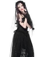 Dark In Love Gothic Cross Wedding Veil Black Rose Lace Steampunk Victorian Bride