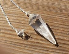 NATURAL CLEAR QUARTZ STONE GEMSTONE FACETED PENDULUM